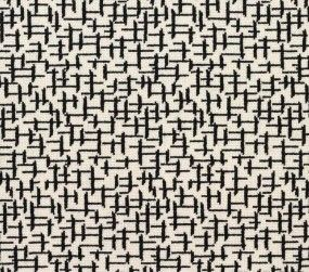 Information about broadloom carpet running line Crossed #21823 in black on white from Langhorne Carpet Company in Penndel, PA.