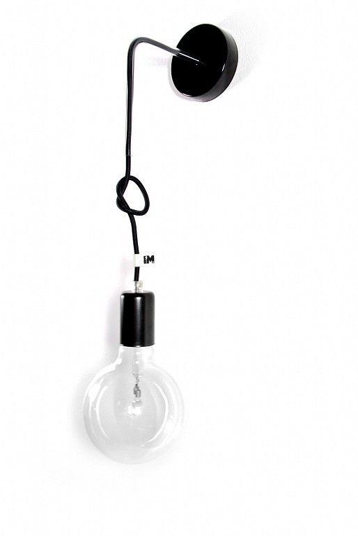 Lampa loft kinkiet kolorowe kable w oplocie czarnym, więcej na: http://www.sklep.imindesign.pl/product/lampa-loft-nowoczesny-kinkiet-kolorowe-kable-w-oplocie-czarnym