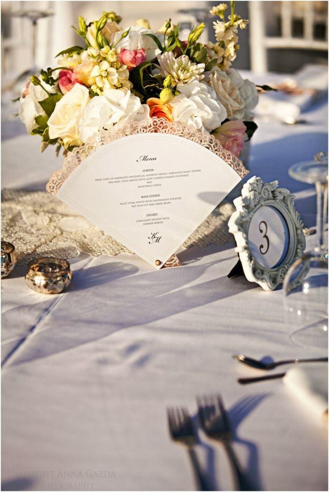Vintage wedding centrepieces, Vintage, shabby chic wedding decorations and flowers by Rachel Rose Weddings in Spain- www.weddingvenuesinspain.com, photography by www.limelight.pl, menus by www.nulkinulks.com