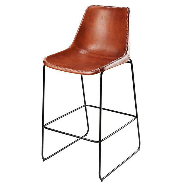 Sedie Per Esterno Da Bar.Sedia Da Bar In Pelle Di Capra Marrone E Metallo Nero Waterloo Nel