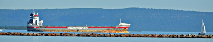 The 132m cargo Salty VIRGINIABORG flagged out of the Netherlands waits outside the break wall to enter into Thunder Bay's harbour...June 18th 2014.