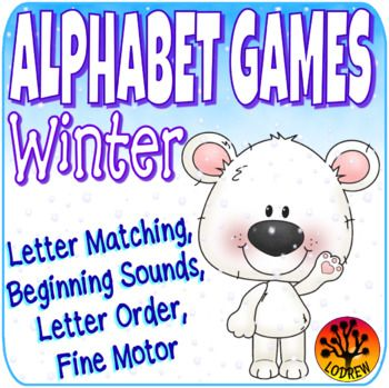 59 pages of winter alphabet games. Activities include literacy, alphabet, letters, beginning sounds, letter order, letter matching, fine motor, word matching, visual discrimination, uppercase, lowercase, winter activities, winter centers, arctic, hot cocoa, polar bears, snowman activity, etc. For kindergarten, preschool, SPED, child care, homeschool, or any early childhood setting.
