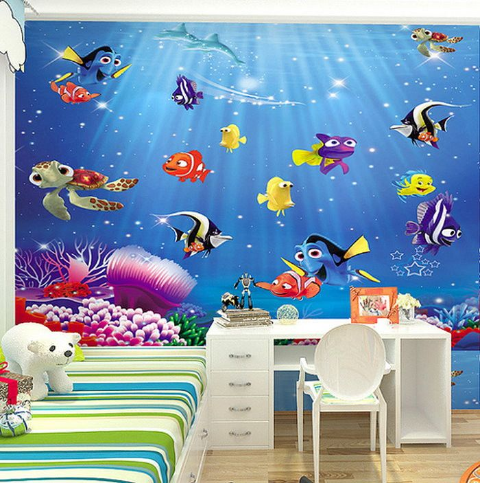 Finding Nemo Cartoon Fish 3d Wallpaper For Walls Material Eco Friendly Wood Fiber