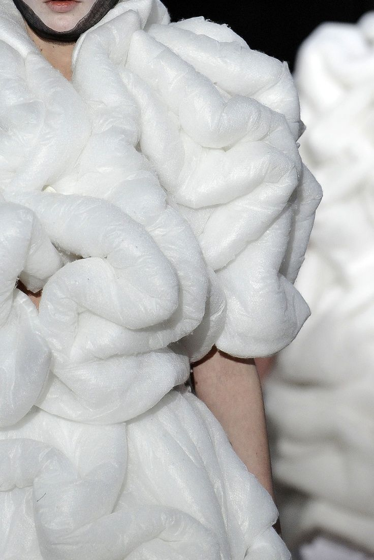 Soft Sculptural Fashion - white dress with padded 3D pattern construction; wearable art // Comme des Garçons