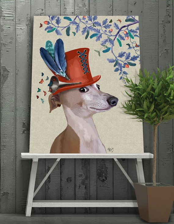 Greyhound gift print - Milliners Dog - Greyhound art Greyhound print Greyhound lover Greyhound gift Greyhound wall art greyhound hat
