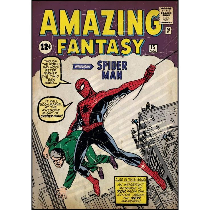 York Wallcoverings RMK1658SLG RoomMates Comic Book Cover - Spiderman #1 Peel & S Multi Home Decor Wallpaper Wall Decals