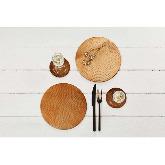 Flat Hammered Copper Place Mats Set Of 2 Placemats Hammered Copper Stylish Table Setting