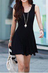 Color Block Double-Pocket Skinny Stylish Scoop Neck Sundress For Women (GREY AND WHITE,S) | Sammydress.com Mobile