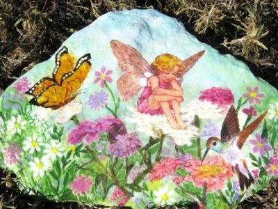 Hand Painting Flowers & Fairies on Garden Rocks