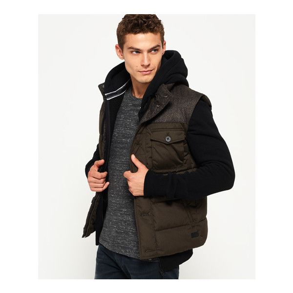 Superdry Tech Tweed Gilet (875 MXN) ❤ liked on Polyvore featuring men's fashion, men's clothing, men's outerwear, men's vests, green, mens gilet vest, mens zip vest, mens quilted vest, mens gilet and mens wool tweed vest