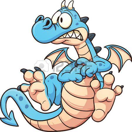 cartoon dragon: Cartoon ijedt kék sárkány. Vektor clip art illusztráció egyszerű színátmenetek. Minden egy rétegben. Illusztráció