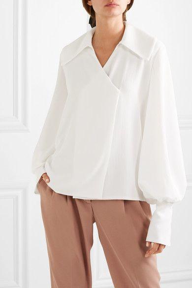 4ede1f923d9820 Emilia Wickstead | Wide collar wrap-effect crepe blouse | NET-A-PORTER