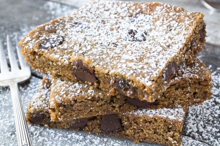 Whole Wheat Chocolate Chip Gingerbread Blondies