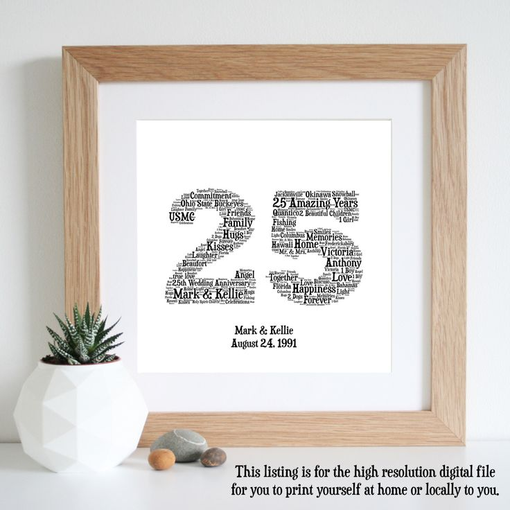 25th ANNIVERSARY GIFT - Word Art - Silver Anniversary - Printable - 25 Year Anniversary - Personalised Gifts - 25th Wedding Anniversary by WordlyDesigns on Etsy https://www.etsy.com/listing/236447524/25th-anniversary-gift-word-art-silver