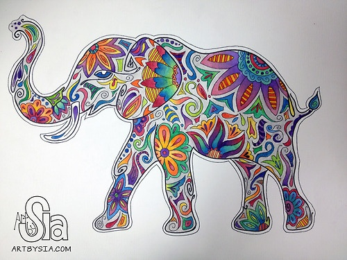 Art by Sia | Elephant | 2012 | Watercolor and sharpie