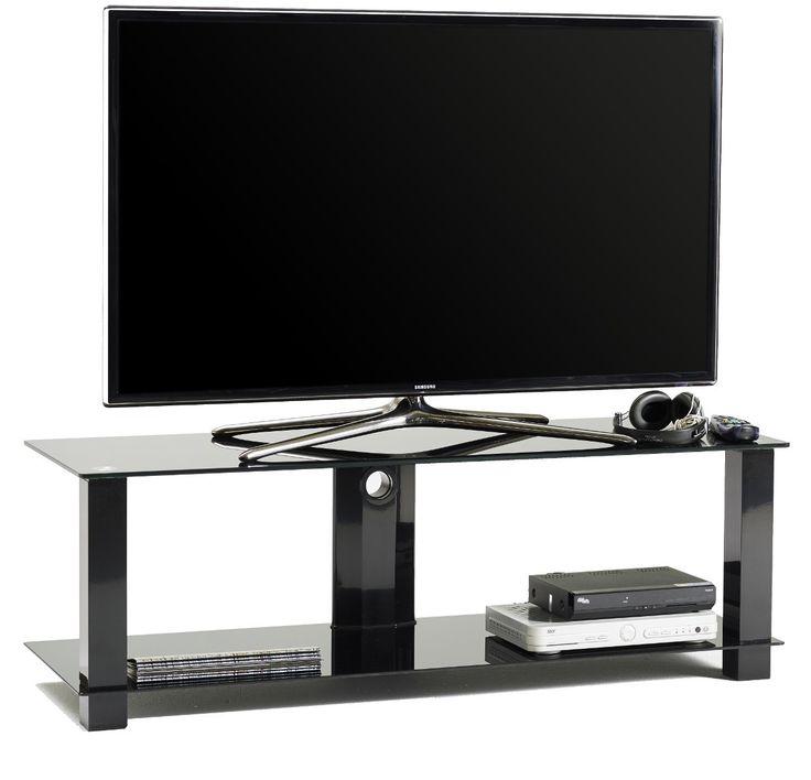 M5001L+mobile+porta+TV+fisso+in+metallo+e+vetro+con+passacavi+120+cm