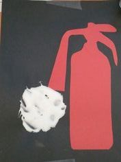 A clever way to introduce kiddos to a fire extinguisher. Use shaving cream and glue to make the foam. Click for free fire safety ideas from TheMailbox.