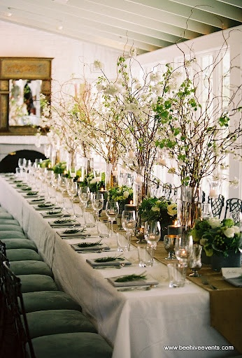 mix of Rustic tall and short centerpieces