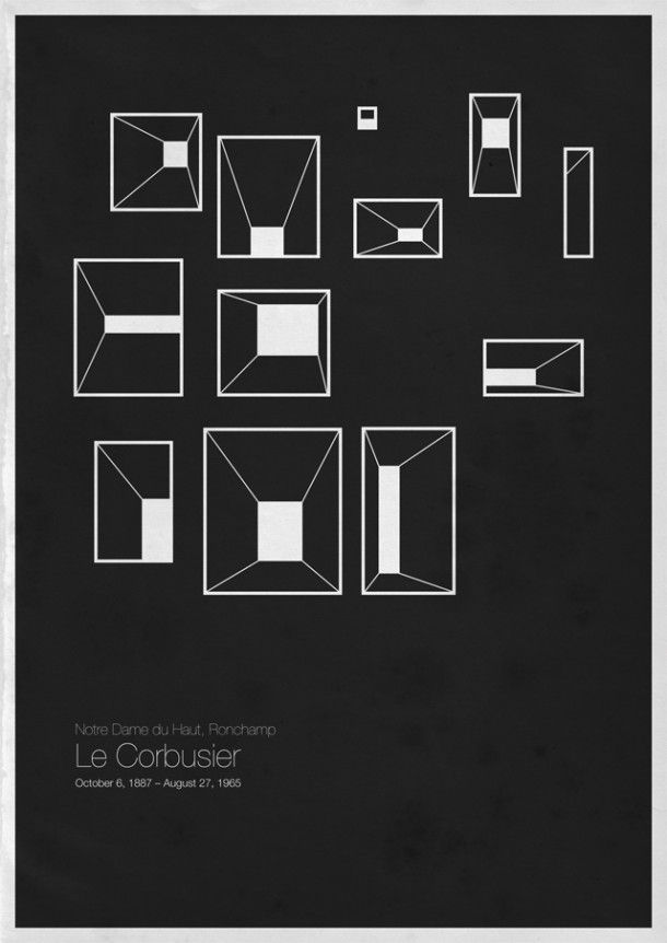 Six Architects is a series of minimalist posters by a designer who goes by Roosterization; his crisp black and white graphics simplify and recreate the work of some of modern architecture's most famed structures — from Frank Lloyd Wright's Guggenheim Museum to Louis Kahn's National Assembly Building in Bangladesh.