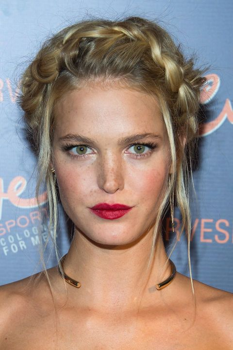 By pulling out a few strands around Erin Heatherton's face, hairstylist Jennifer Yepez kept the look modern, not milkmaid.: