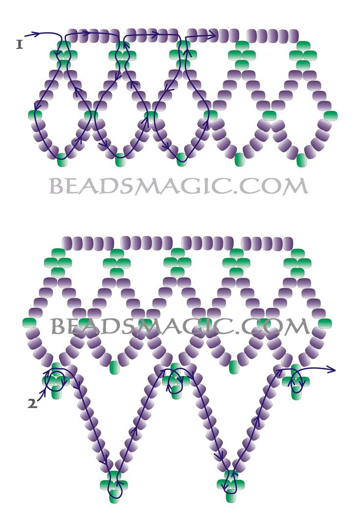 Free pattern for pretty beaded necklace Junona | Beads Magic#more-4907. Maybe add drop beads to points?