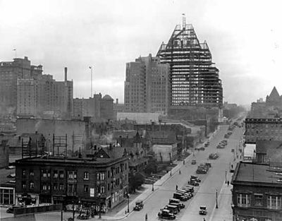 Unfinished third Hotel Vancouver, 1931. Looking down Burrard with the Second Hotel Vancouver on the left. @The Fairmont Hotel Vancouver