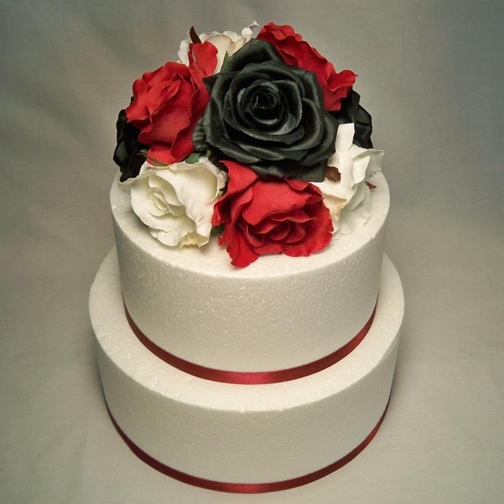 Red Roses Cake Images : Black, White and Red Rose Wedding Cake Topper Black ...