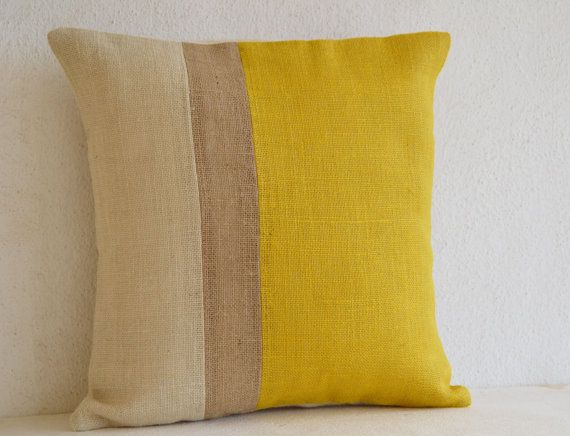 Yellow Pillow - Throw Pillows color block - Burlap Pillow - Decorative cushion cover- Spring Throw pillow gift pillow 18x18