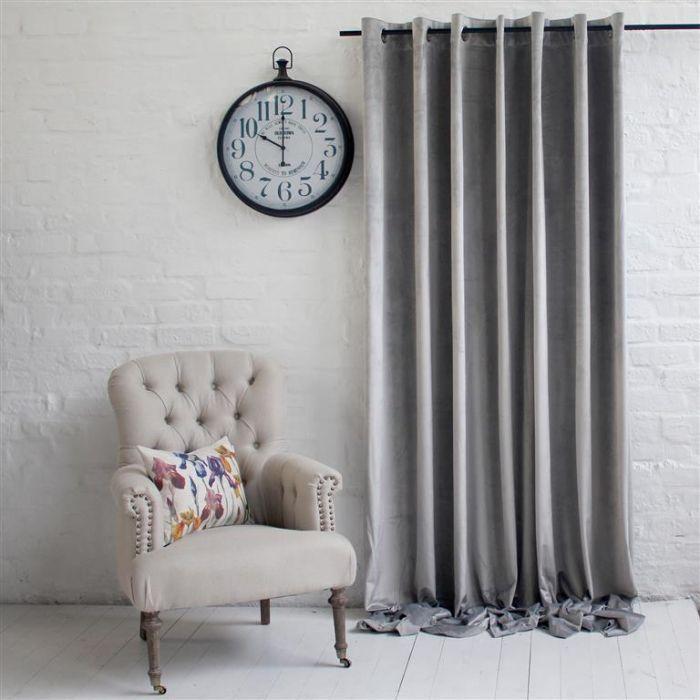 Light Grey Velvet Curtain - Wide Width