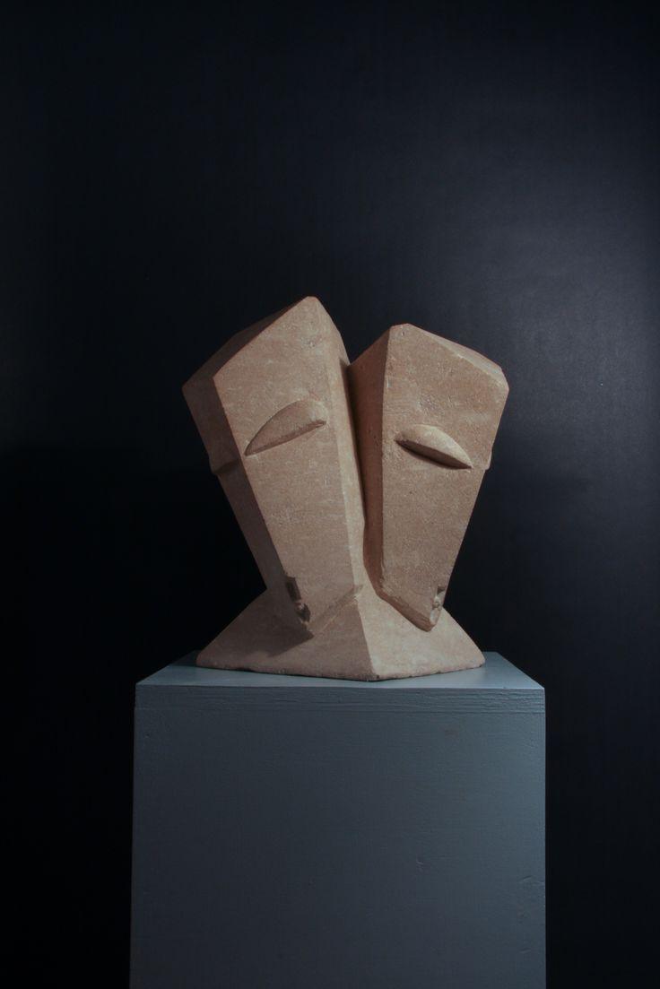 """Tricephaly"" - Hand carved Cadeby iimestone"
