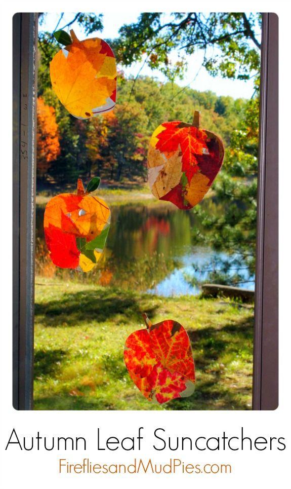 Autumn Leaf Suncatchers  using real leaves - LOVE! Wish I had fall leaves here in FL #firefliesandmudpies