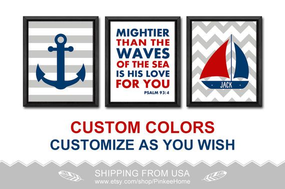 mightier than the waves nautical nursery room decor bible quotes boy nursery personalized nautical baby boy decor kids name nautical kid art by PinkeeHome