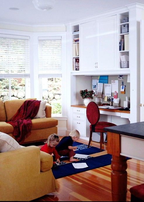 This Family Kitchen Space Includes An Adjoining Seating Area With A Handy  Computer Workstation And Desk