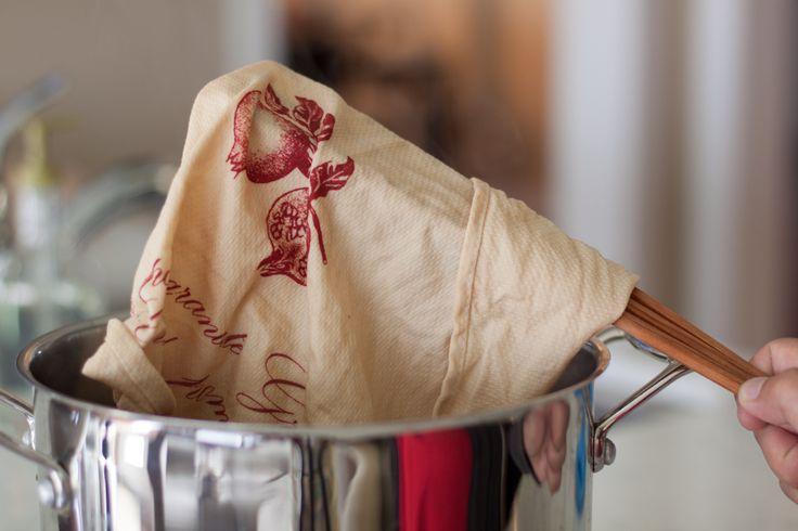 Tea dyeing a hand towel.