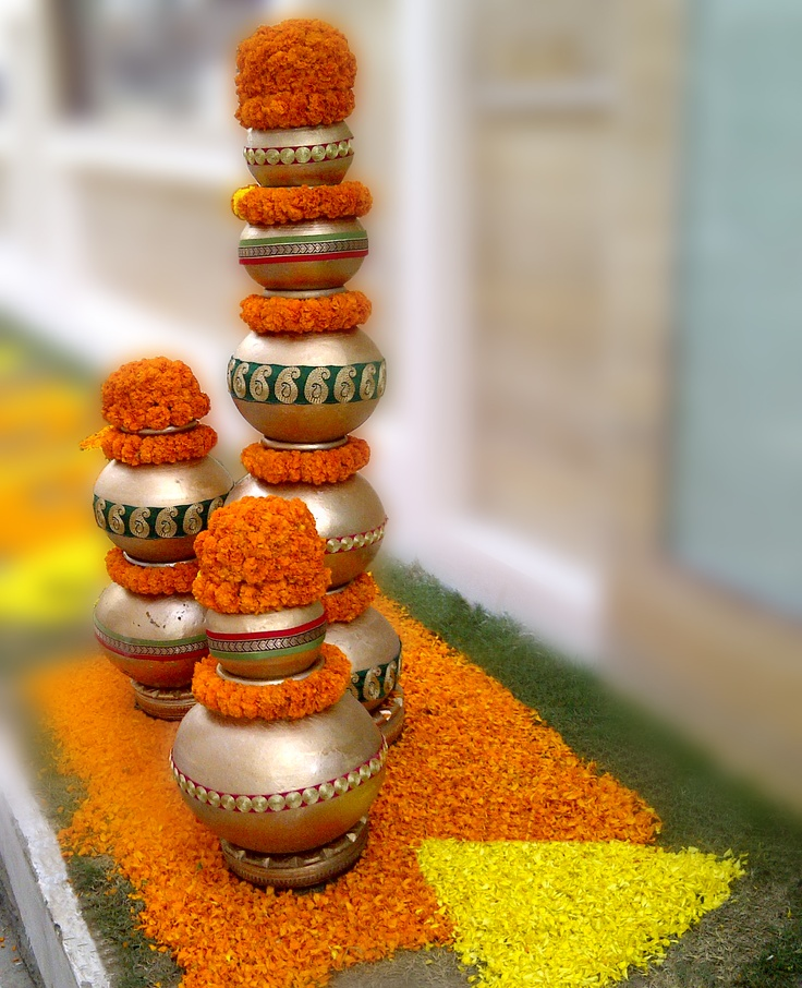 Marigold Flowers at entrance of Wedding Venue