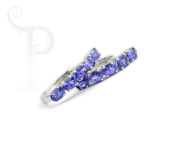 9ct White Gold Hughie Earrings Set With Oval Cut Tanzanite's