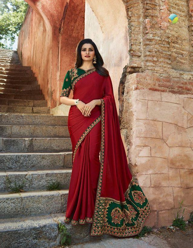 de3ba325815 Buy Bollywood Prachi Desai Red and green silk designer party wear saree in  UK