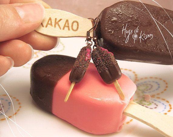 Chocolate Popsicle Earrings Ice Cream Hooks by HugsKissesMINI
