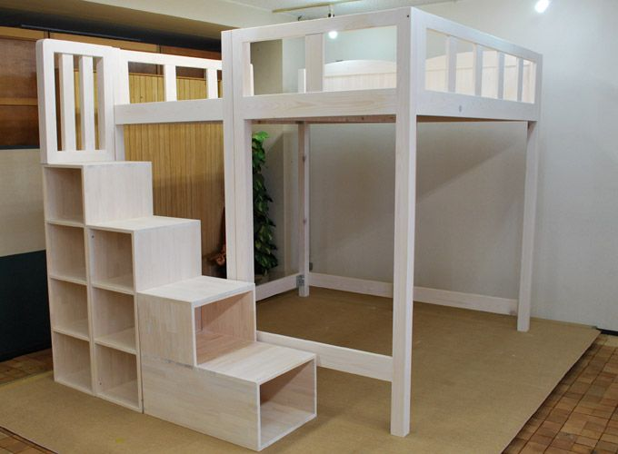 Super Heavy Duty Loft Bed With Stair Case Shelf Full Size