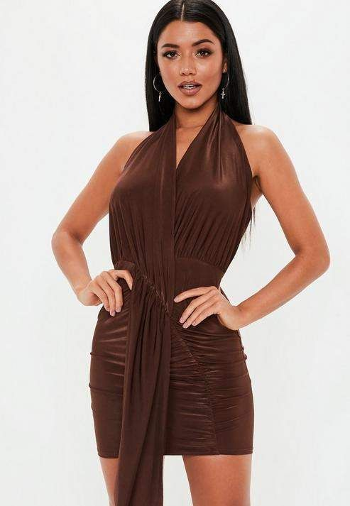 Missguided Chocolate Slinky Cowl Drape Bodycon Mini Dress