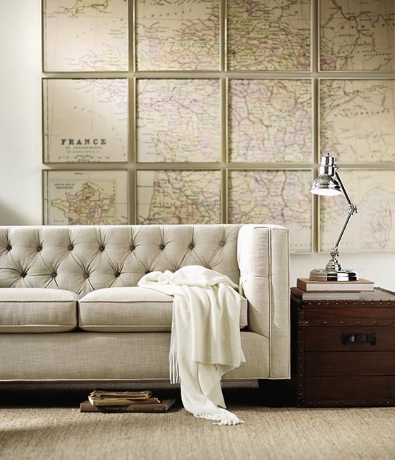 Great couch / Backdrop: Wall Collage, Wall Art, Antiques Maps, Tufted Sofas, Frames, Vintage Maps, Loveseats, Living Rooms Furniture, Art Wall