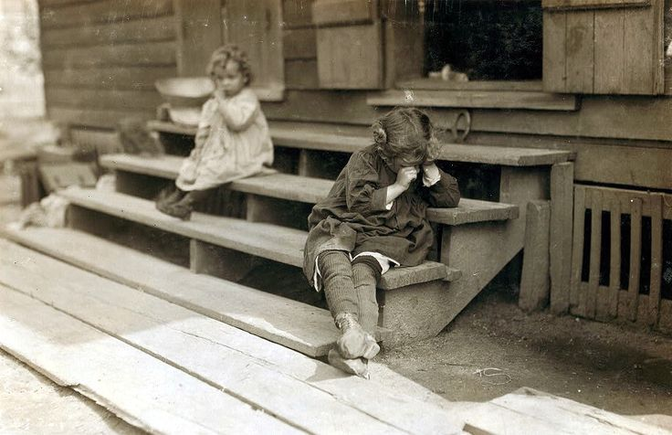 "Circa 1911, Biloxi, Mississippi. Olga Schubert, 855 Gruenwald St. The little 5 yr. old after a day's work that began about 5:00 A.M. helping her mother in the Biloxi Canning Factory, begun at an early hour, was tired out and refused to be photographed. The mother said, ""Oh, She's ugly."" Both she and other persons said picking shrimp was very hard on the fingers. Lewis Wickes Hine LC-DIG-nclc-00891 http://www.loc.gov #American #History #Mississippi"
