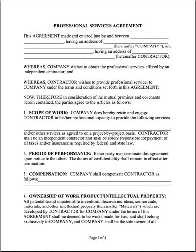 Service Contract Form Service Agreement Contract Form Maintenance