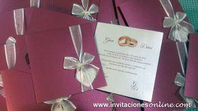 invitaciones de boda clásicas y románticas en color granate con lazo en beige invitacions casaments wedding Barcelona