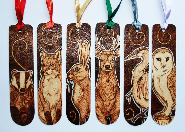 Pyrography - British Animal Bookmarks by *BumbleBeeFairy on deviantART (beautiful bookmarks)
