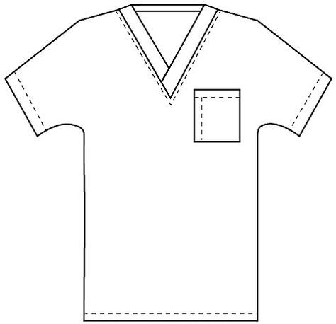 Outline Of Nurses Scrub Shirt Sketch Coloring Page
