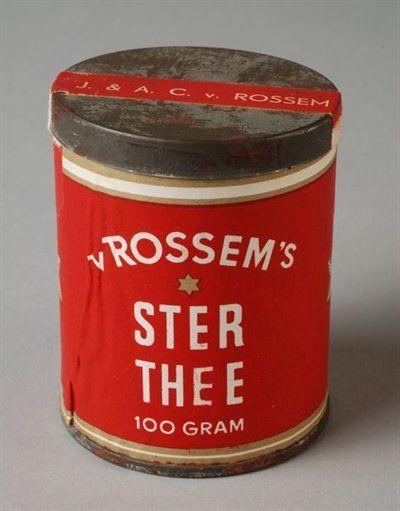 Kartonnen theebus met bodem en deksel van blik, gevuld met Sterthee van Van Rossem, Melange 1950