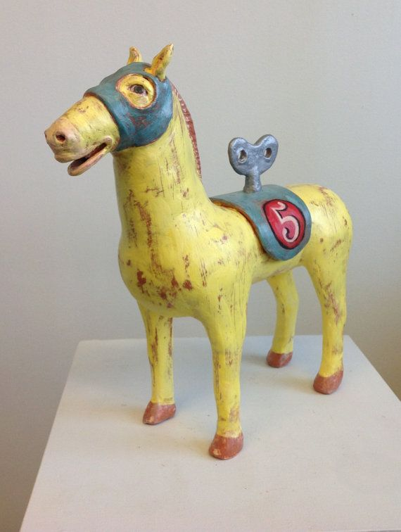Yellow Race Horse whimsical ceramic sculpture - lloydfineart at etsy