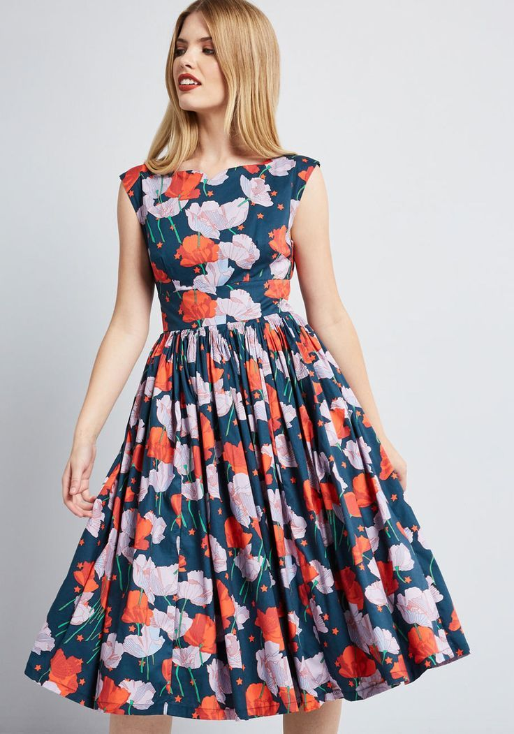 Fabulous Fit and Flare Dress with Pockets in Navy
