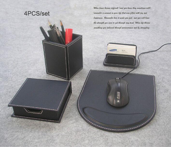 4 Шт./компл. дерево кожа офисный стол канцелярские принадлежности и организатор держатель ручки визитка стенд коврик для мыши стол набор черный K209A